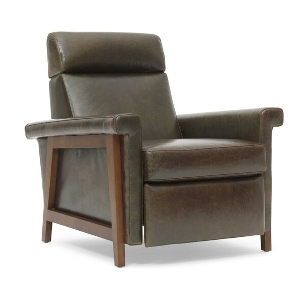 ARLEN LEATHER RECLINER, MONT BLANC - SPANISH MOSS, hi-res
