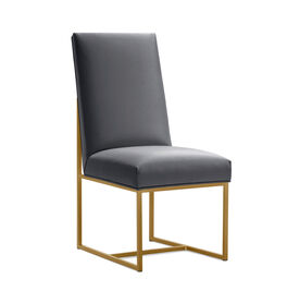 GAGE TALL DINING CHAIR - BRUSHED BRASS, Vinyl - CHARCOAL, hi-res