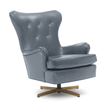 ORSON LEATHER SWIVEL CHAIR, MONT BLANC - IRON, hi-res