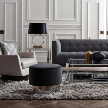 MARGAUX  SWIVEL OTTOMAN, VIVID - CHARCOAL, hi-res