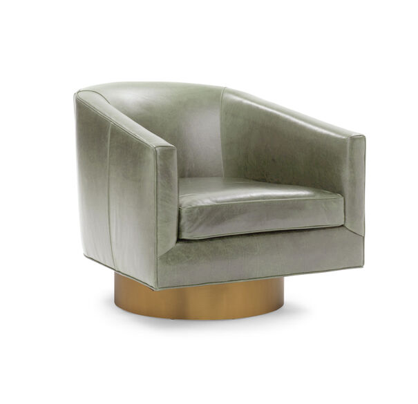 BIANCA FULL SWIVEL LEATHER CHAIR, MONT BLANC - FERN, hi-res