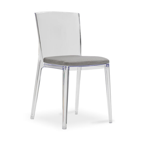 ALAIN CLEAR SIDE DINING CHAIR WITH CUSHION, TERRACE - GRAPHITE, hi-res