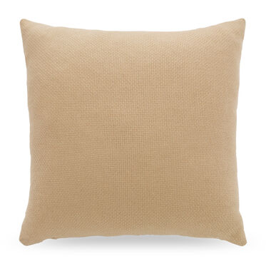 ECRU CAMEL HAIR BASKETWEAVE THROW PILLOW, , hi-res