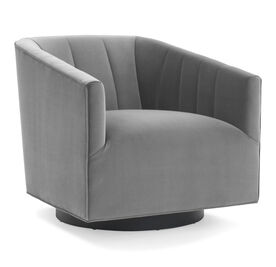 COOPER CHANNEL TUFTED SWIVEL CHAIR, Performance Micro Velvet - SILVER, hi-res