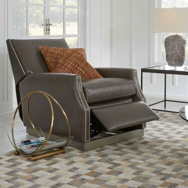 BENSON LEATHER RECLINER, TUSCANY - GREY SLATE, hi-res