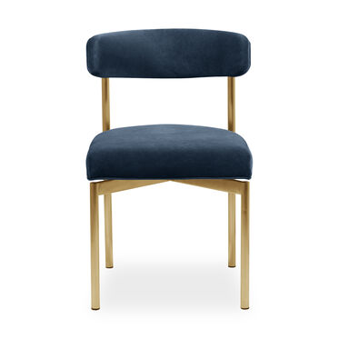 REMY DINING CHAIR - BRUSHED BRASS, BOULEVARD - DEEP BLUE, hi-res