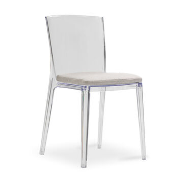 ALAIN CLEAR SIDE DINING CHAIR WITH CUSHION, TERRACE - PEWTER, hi-res