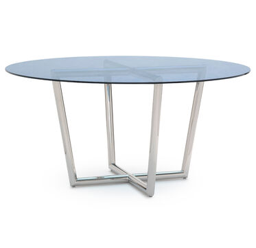 MODERN ROUND DINING TABLE - POLISHED STAINLESS STEEL, , hi-res