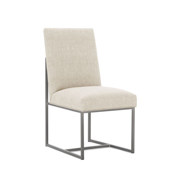 GAGE LOW DINING CHAIR - BRUSHED STAINLESS STEEL, COSTA - CREAM, hi-res