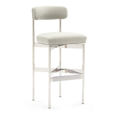 REMY LEATHER  BAR STOOL, TRIBECA - CREAM, hi-res