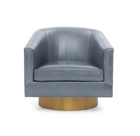BIANCA FULL SWIVEL LEATHER CHAIR, MONT BLANC - IRON, hi-res