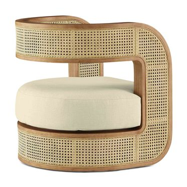 KIRBY CANED CHAIR, PERFORMANCE LINEN - CREAM, hi-res