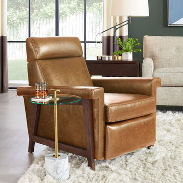 ARLEN LEATHER RECLINER, MONT BLANC - FAWN, hi-res