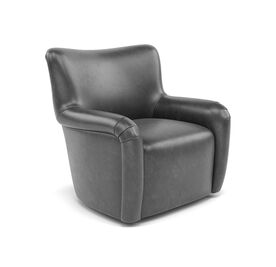 HUXLEY LEATHER SWIVEL CHAIR, MONT BLANC - IRON, hi-res