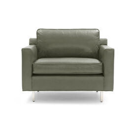 HUNTER LEATHER CHAIR, Mont Blanc - Italian Leather - Fern, hi-res