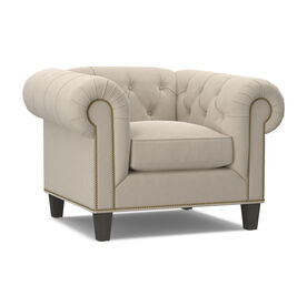 ADDISON CHAIR WITH NAILHEAD, Performance Velvet - ECRU, hi-res