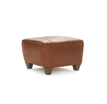 PHILIPPE LEATHER OTTOMAN, PENLAND - TOBACCO, hi-res