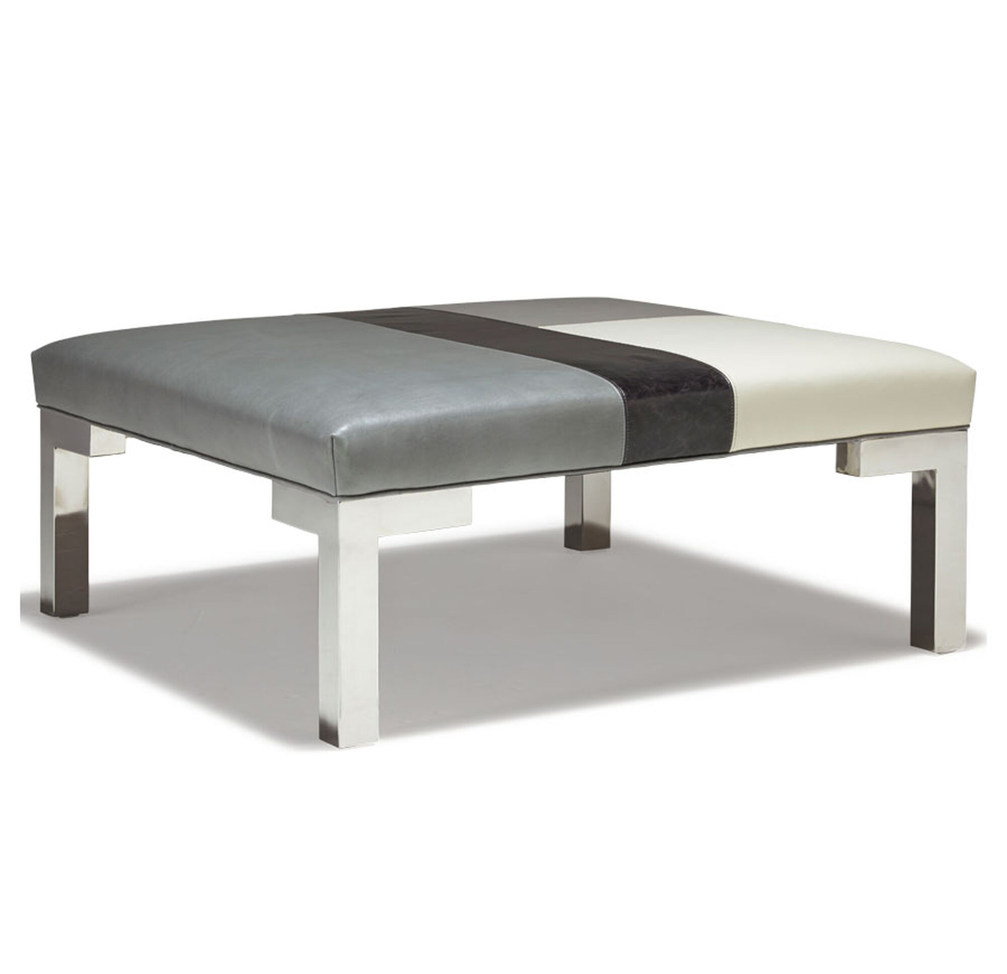 WINSTON LEATHER SQUARE MOSAIC OTTOMAN