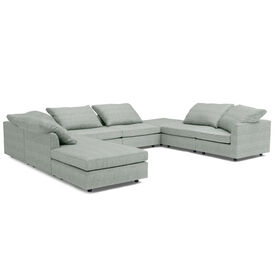 BIG EASY 8-PC SECTIONAL, Sunbrella Performance Textured Two-Tone Linen - SKY                                 BLUE                             , hi-res