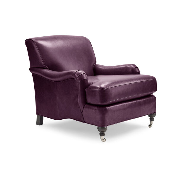 LONDON LEATHER CHAIR, MONT BLANC - AUBERGINE, hi-res