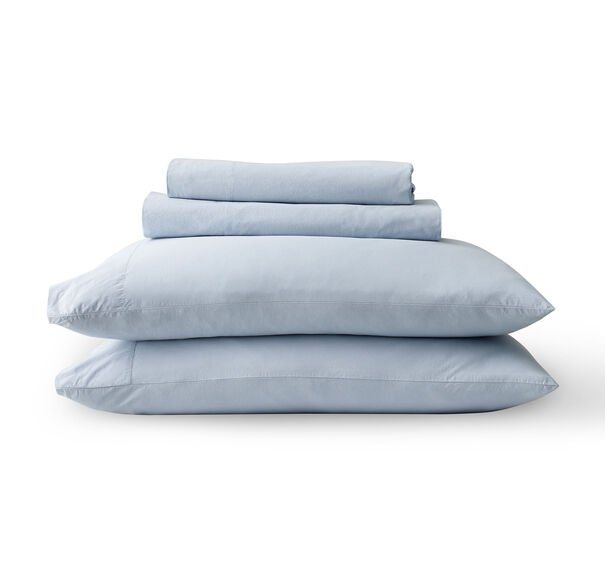 EXPOSED BUTTON VINTAGE WASHED COTTON PERCALE SHEET SET, , hi-res