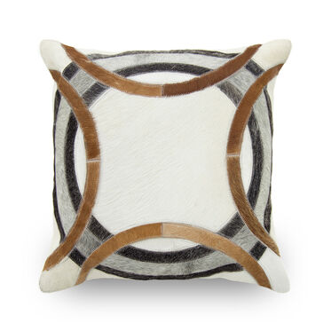 HAIR ON HIDE CIRCLE PILLOW - NATURAL 20 X 20, , hi-res