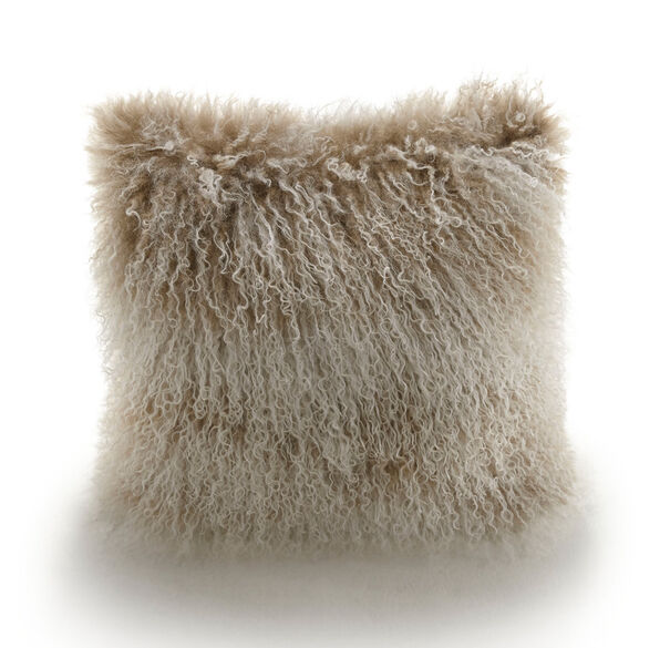 TIBETAN WOOL SHELL BEIGE 16 IN. SQUARE THROW PILLOW, , hi-res