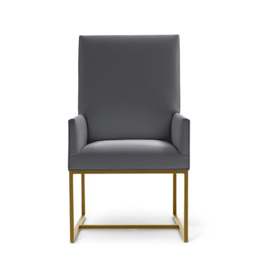GAGE LOW ARM DINING CHAIR - BRUSHED BRASS, KOKO - CHARCOAL, hi-res