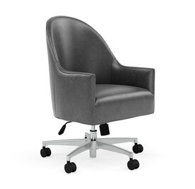 BELLA LEATHER DESK CHAIR, MONT BLANC - IRON, hi-res