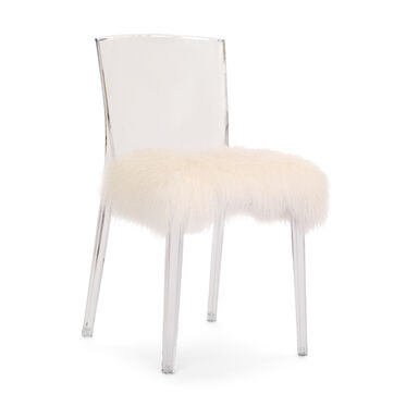 ALAIN CLEAR SIDE DINING CHAIR WITH CUSHION, , hi-res