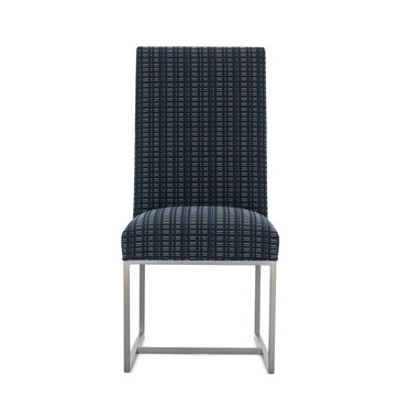 GAGE TALL DINING CHAIR - BRUSHED STAINLESS STEEL, DOT DASH - NAVY, hi-res