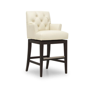 JACQUES LEATHER SWIVEL BAR STOOL, CORDELL - DOVE, hi-res