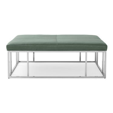 CARMEN LEATHER SQUARE OTTOMAN, MONT BLANC - RAINFOREST, hi-res