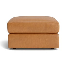 HAYWOOD LEATHER OTTOMAN, Mont Blanc - Italian Leather - Fawn, hi-res