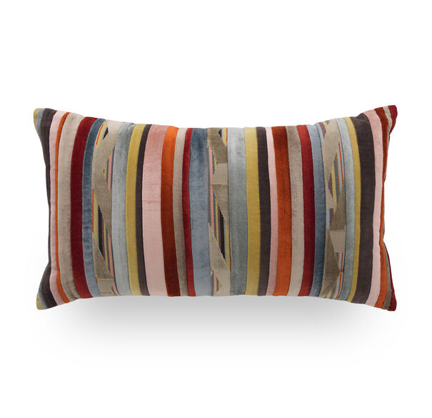 MULTI VELVET STRIPE PILLOW - 24X14, , hi-res