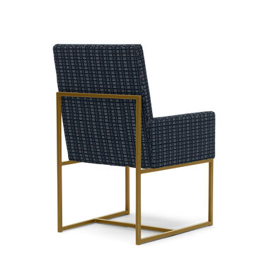 GAGE LOW ARM DINING CHAIR - BRUSHED BRASS, DOT DASH - NAVY, hi-res