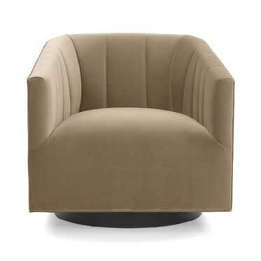 COOPER STUDIO CHANNEL TUFTED SWIVEL CHAIR, VIVID - TAUPE, hi-res