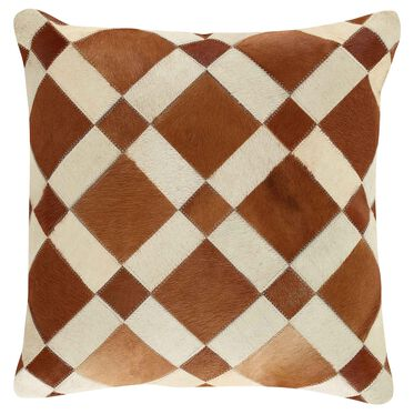 CHECKERBOARD COW HIDE PILLOW 22 X 22, , hi-res