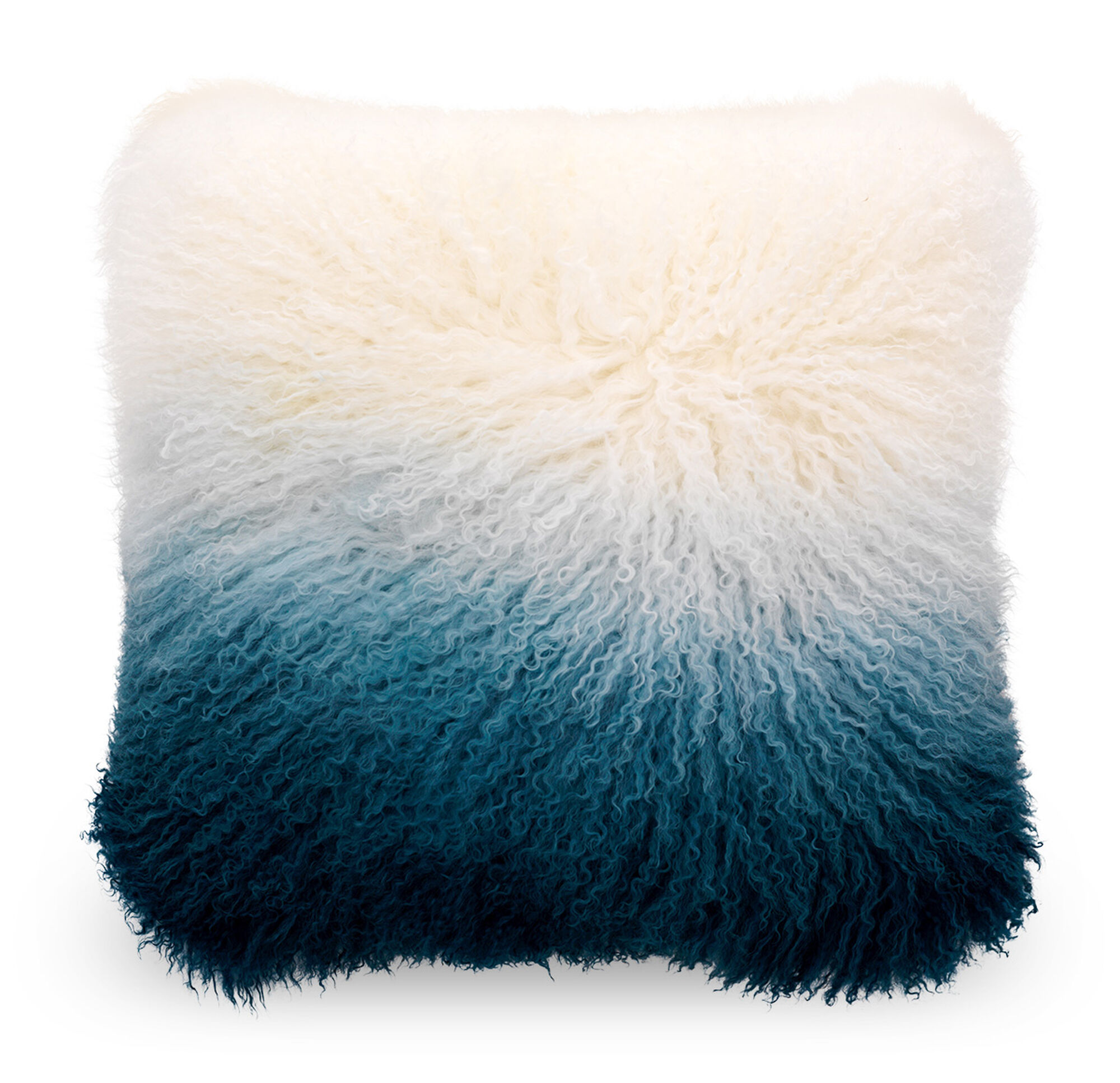Ombre Ivory And Blue Tibetan Wool Pillow 20x20