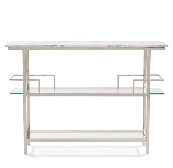 MARQUIS WHITE MARBLE BAR - POLISHED STAINLESS STEEL, , hi-res