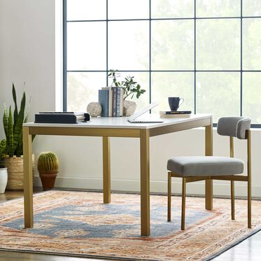 ESSENTIAL PARSONS DINING TABLE - BRASS, , hi-res