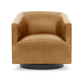 COOPER STUDIO LEATHER SWIVEL CHAIR, MONT BLANC - FAWN, hi-res