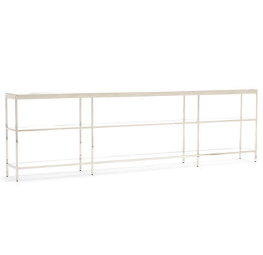 VIENNA LOW BOOKCASE EXTRA LARGE - POLISHED STAINLESS STEEL, , hi-res