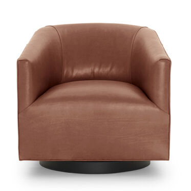 COOPER LEATHER SWIVEL CHAIR, MONT BLANC - CHIANTI, hi-res