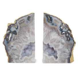 AGATE BLUE AND BEIGE LARGE BOOKENDS, , hi-res