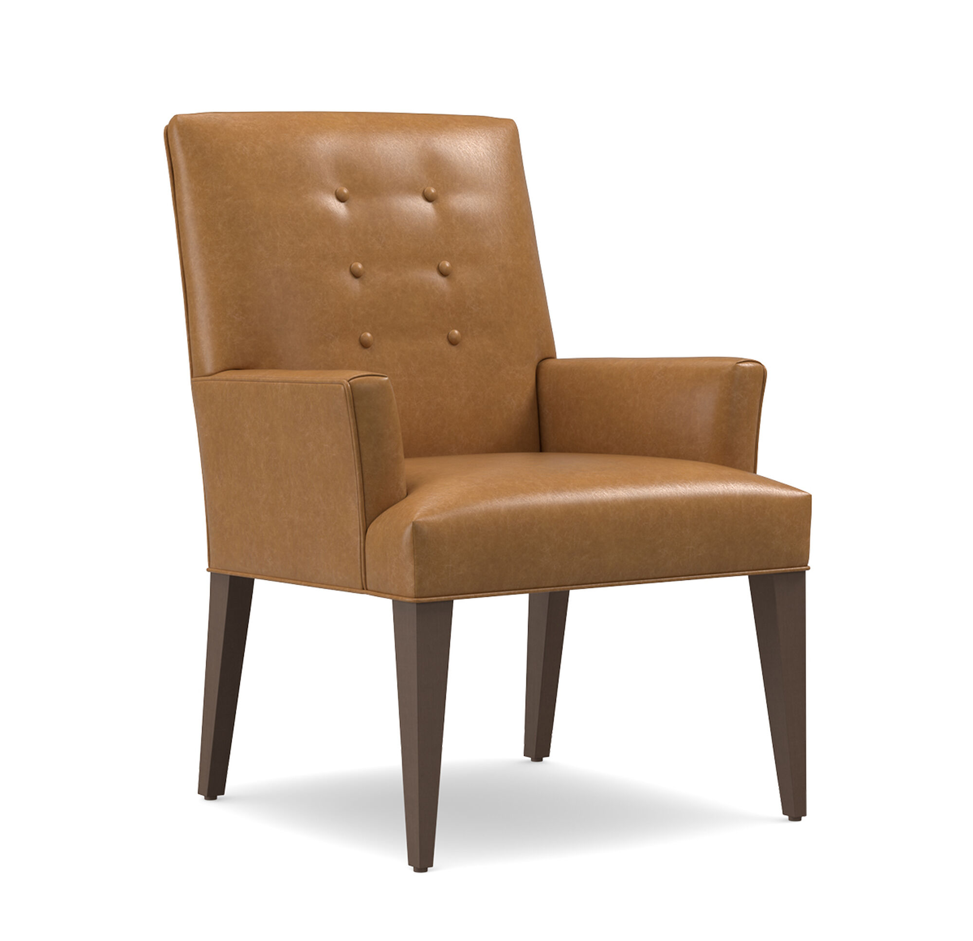 Oliver leather arm dining chair for Leather dining chairs with arms