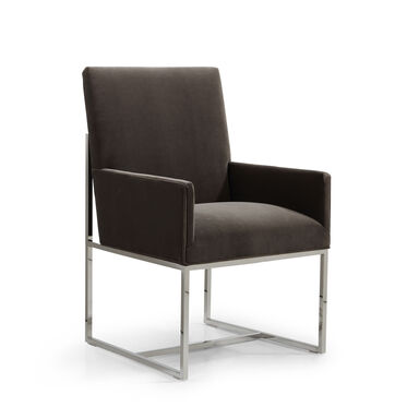 GAGE LOW ARM DINING CHAIR - POLISHED STAINLESS STEEL, BOULEVARD - CAFE, hi-res