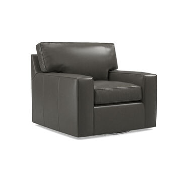 ALEX LEATHER SWIVEL GLIDER CHAIR, MANCHESTER - GRAPHIT, hi-res