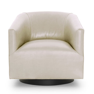 COOPER STUDIO LEATHER SWIVEL CHAIR, MONT BLANC - IVORY, hi-res
