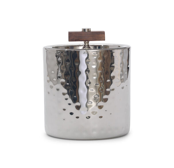 HAMMERED METAL AND WALNUT ICE BUCKET, , hi-res
